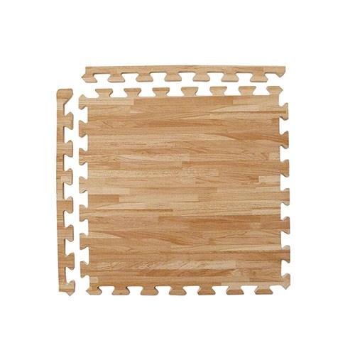 新生活家 耐磨拼花木紋地墊-淺色45x45x1.2cm12入(附邊條)