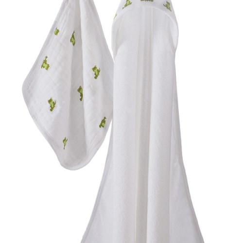 Aden + Anais Towel & Washcloth Set 嬰幼兒棉紗布沐浴浴巾組合 - 蛙蛙寶貝 mod about baby-frog