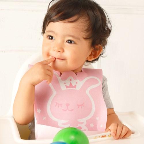 (Q萌)Lullmini Floret 嬰幼童拋棄型圍兜 - 公主兔 (6入)