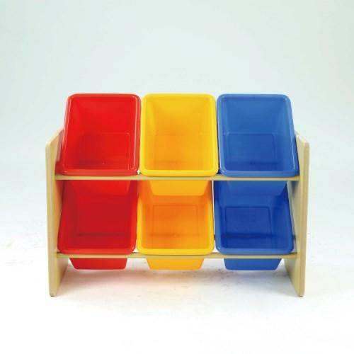 DELSUN [DELSUN 5506B] 兒童玩具收納架 原色 6格收納 雜物收納 塑膠收納架 木製收納架 DIY 台灣製造 安檢
