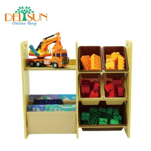 [DELSUN 5808N] 兒童書報玩具收納架 二合一 多功能 雜誌收納 塑膠收納架 木製收納架 DIY 台灣製造 安檢