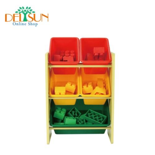 [DELSUN 5506A] 兒童玩具收納架 原色 5格收納 雜物收納 塑膠收納架 木製收納架 DIY 台灣製造 安檢