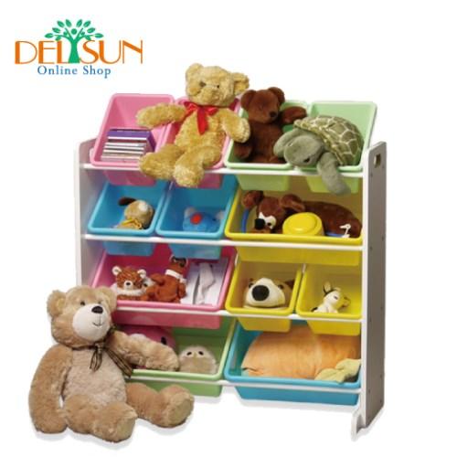 [DELSUN 5608P] 兒童玩具收納架 粉彩色12格收納 雜物收納 塑膠 木頭 DIY組合 台灣製造 安檢