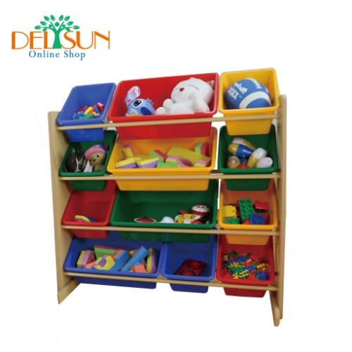 [DELSUN 5608] 兒童玩具收納架 原色12格收納 雜物收納 塑膠 木頭 DIY組合 台灣製造 安檢