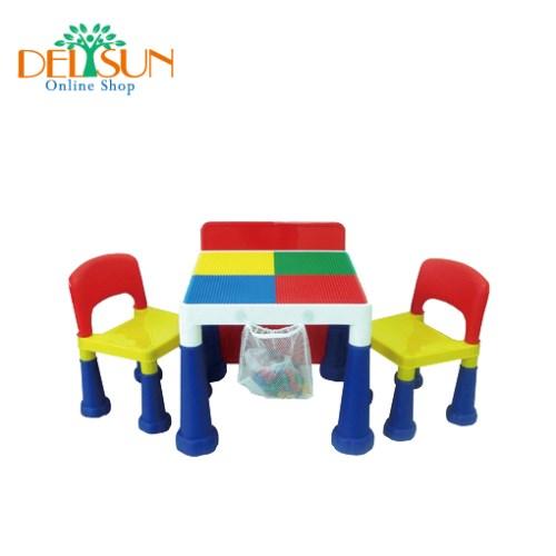 DELSUN 兒童積木桌椅組 加贈2包小積木共300顆