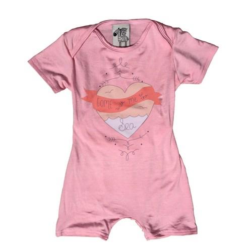 DELSUN [EZ1Z-clothes]嬰兒無扣連身包屁衣 粉愛心