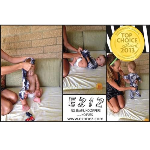 DELSUN [EZ1Z-clothes] 嬰兒無扣連身包屁衣 白斑馬