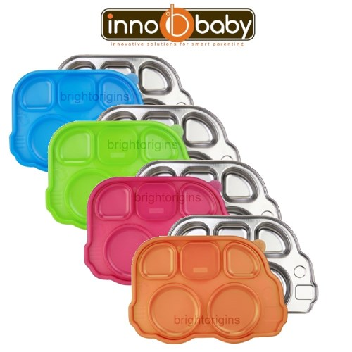 美國innobaby獨立分隔不鏽鋼巴士餐盤