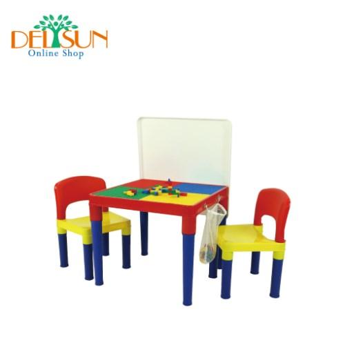 [DELSUN 8601W-3] 兒童白板積木桌椅組 DIY 多功能桌椅 台灣製造 安檢