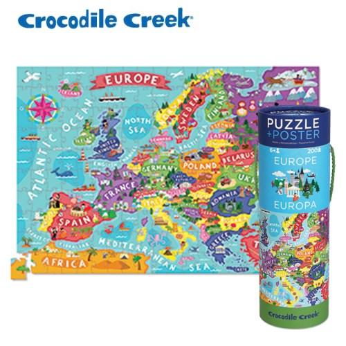 美國Crocodile Creek 2合1海報拼圖系列-歐洲地圖