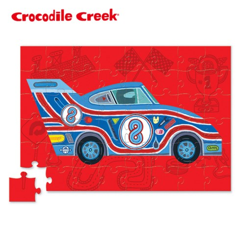 美國Crocodile Creek 汽車造型盒拼圖系列-經典賽車