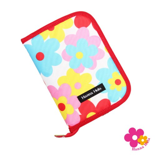 【日本Hanna Hula】多用途收納包L-親子手冊、健保卡等都可收納(花樣紅)