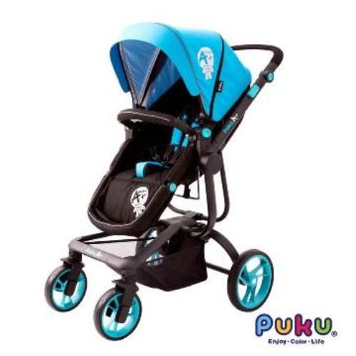 PUKU A+皇家雙向推車-睡藍座椅雙向二合一(三色可選-皇家格、藍城堡、紅騎士)