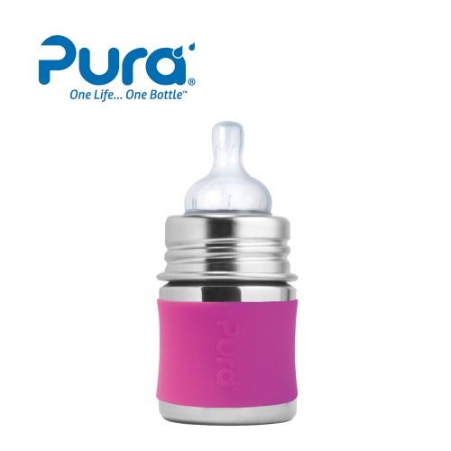 美國Pura - 不鏽鋼環保成長瓶150ml(粉.藍)+奶嘴