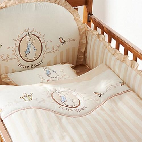 【奇哥】白色大床+優雅比得兔六件床組-L