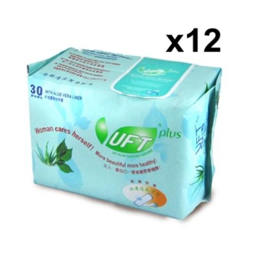 UFT蘆薈草本衛生棉--乾爽護墊12件優惠組 (30片裝x12包)