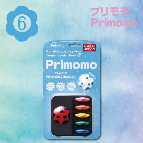 Primomo普麗貓趣味蠟筆(花瓣型)6色-附橡皮擦