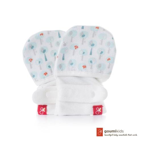美國 Goumikids 有機棉手套2入組禮盒 (愛心小樹+叢林動物綠色)