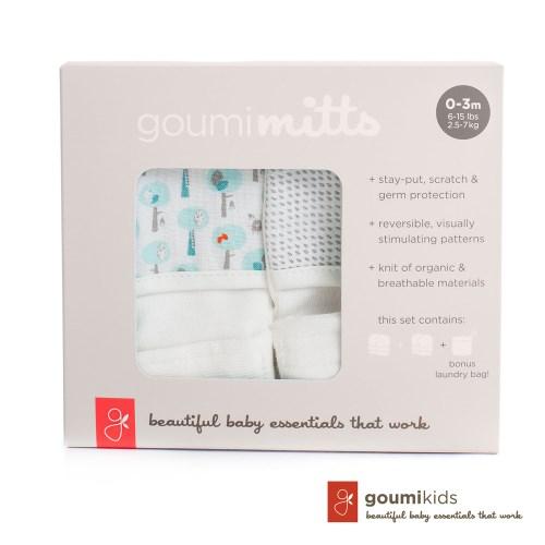 美國 Goumikids 有機棉手套2入組禮盒 (愛心小樹+灰色點點)