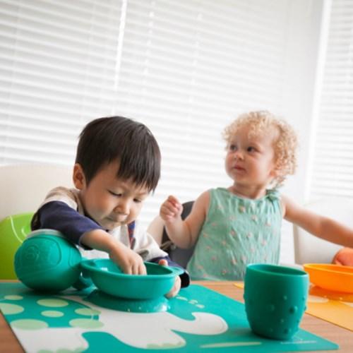 MARCUS&MARCUS 動物樂園矽膠防漏幼兒學習吸盤碗 (多款繽紛任選)