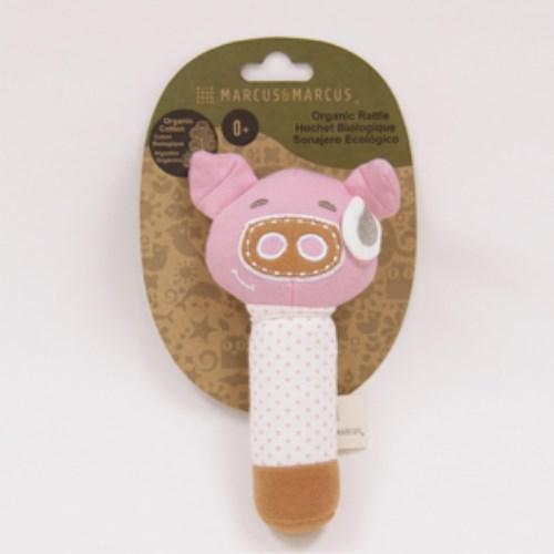 MARCUS&MARCUS 動物樂園有機棉手搖鈴安撫玩偶-粉紅豬