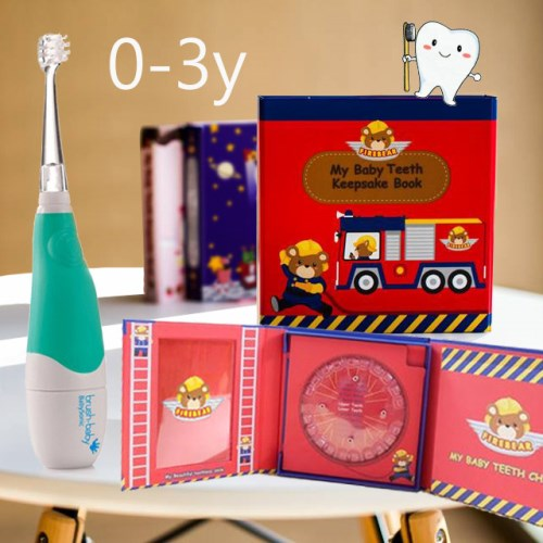 乳牙盒+英國brush baby電動牙刷組(0-3歲)