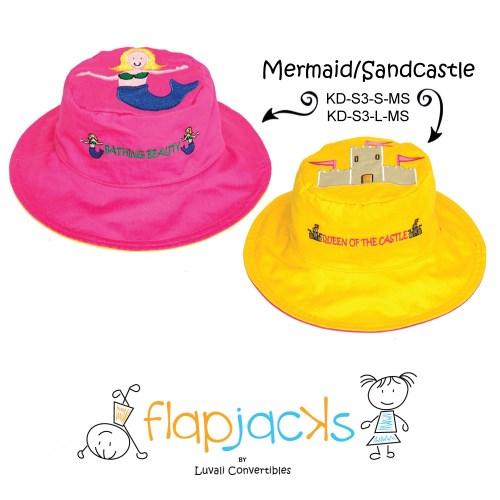 加拿大 flapjacks 兒童翻轉防曬帽-美人魚+城堡