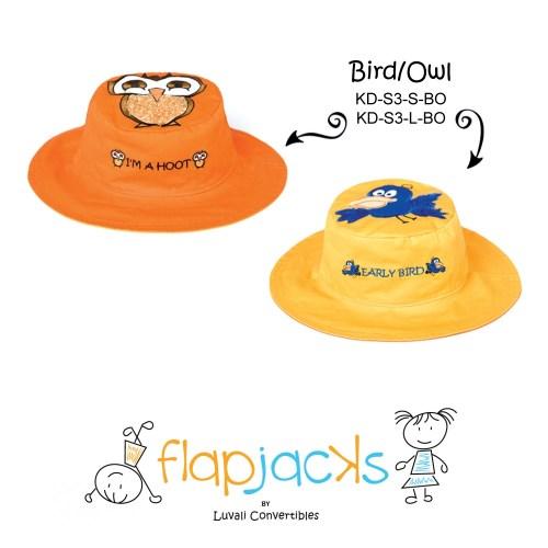 加拿大 flapjacks 兒童翻轉防曬帽-貓頭鷹+小鳥