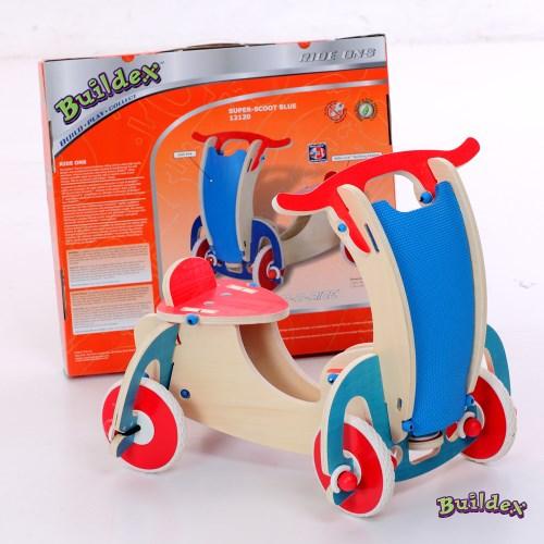 美國 Buildex 純木質騎乘車 (藍色摩托車)