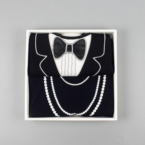 美國Frenchie MC燕尾服珍珠項鍊成人防水圍兜禮盒組