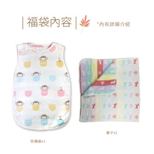 兩件組六層紗四季防踢被 睡袋+保暖被毯 被子 紗布包巾 浴巾(商檢合格)  Doublelove 高密寶寶  空調被 新生兒 嬰兒