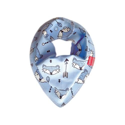 Babooi澳洲手工有機棉個性領巾 - 粉藍狐狸