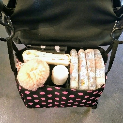 TiDi 黑底粉點點 萬用雙層防水分隔袋 袋中袋 推車適用