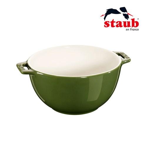 法國Staub 陶瓷雙把碗 18cm-羅勒綠