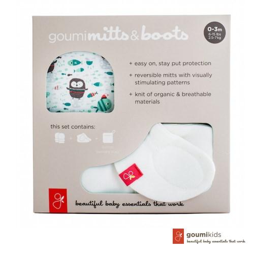 美國 GOUMIKIDS 有機棉手腳套禮盒 (小企鵝-綠色)
