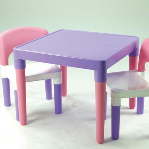 DELSUN書報收納架+兒童桌椅組(冰雪粉紫款)
