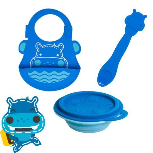 【MARCUS&MARCUS】 幼童學習用餐3件組(湯匙X圍兜X摺疊碗)_(六款可選)