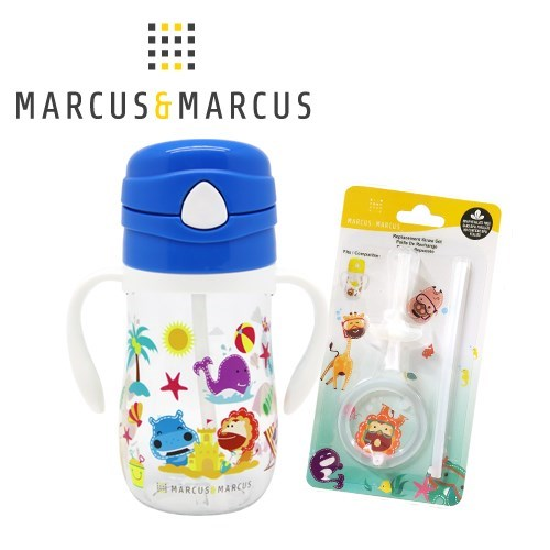 MARCUS&MARCUS 動物樂園Tritan吸管學習杯+吸管配件超值2入組(多款任選)