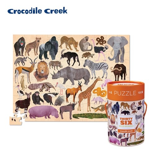 【美國Crocodile Creek】生物主題學習桶裝拼圖100片(多款可選)