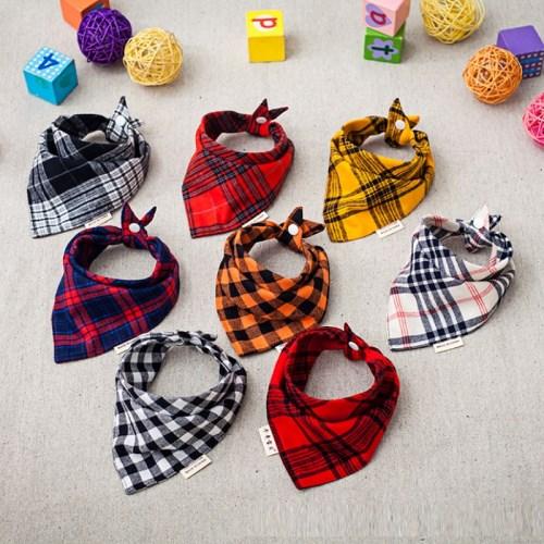【三件組】韓版格紋三角口水巾 純綿雙按扣 六層紗口水巾