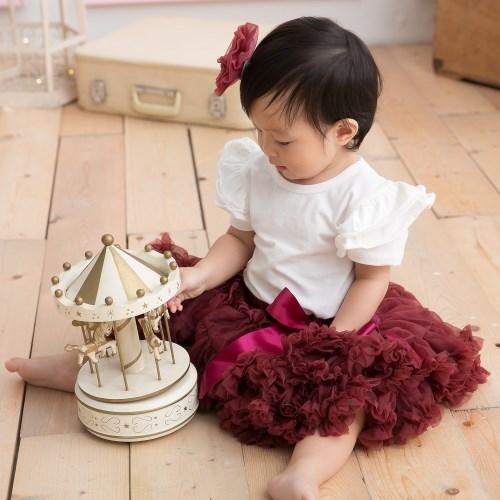 日安朵朵 女嬰童雪紡蓬蓬裙 - 微醺酒紅