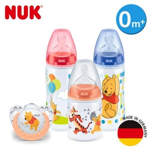 【加贈濕紙巾10抽】德國NUK-迪士尼寬口徑PP奶瓶超值組(2大1小+安睡型矽膠安撫奶嘴-0m+)(顏色圖案隨機出貨)