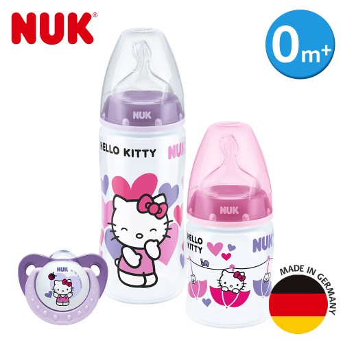 【加贈濕紙巾10抽】德國NUK-Hello kitty寬口徑PP奶瓶奶嘴精裝組-(顏色隨機出貨)