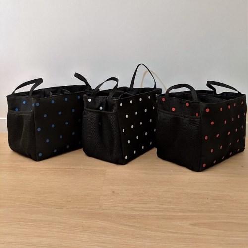 TiDi 黑底小點點 萬用分隔袋 袋中袋 收納袋 (側邊網袋) 共六色