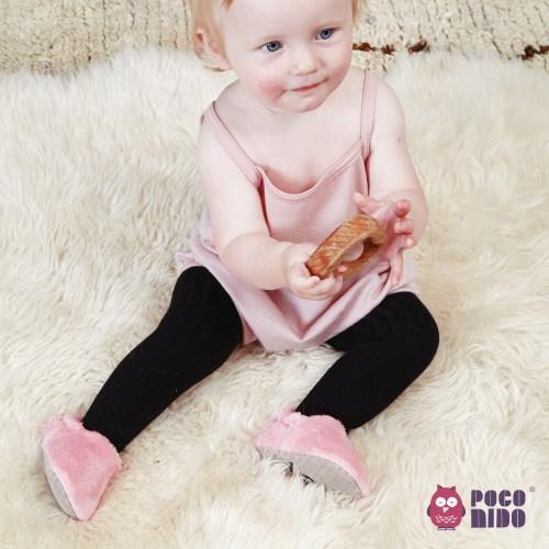 英國 POCONIDO 手工嬰兒絨絨鞋 (糖果粉)