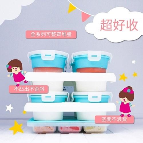 2angels 副食品餐具組 (矽膠副食品儲存杯120ml*1 + 矽膠副食品製冰盒15ml*1 + 矽膠湯匙兩入組附外出盒*1)