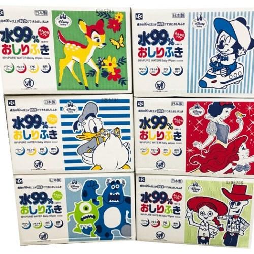 【日本LEC】迪士尼純水99.9%擦屁屁型濕紙巾(箱購80抽X20包)