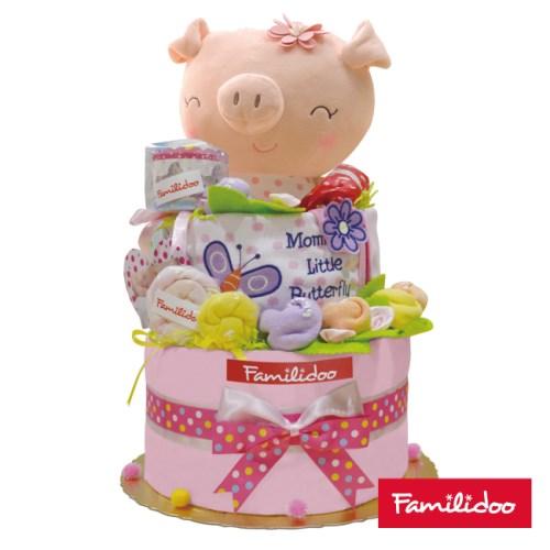 【Familidoo】新生兒禮盒-三層蛋糕樣式(小豬 藍色or粉色)