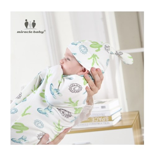 【Miracle baby】袖口可拆式嬰兒包巾胎帽組