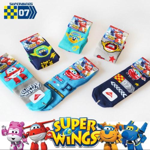 (三雙)SUPER WINGS 萊卡止滑兒童短襪
